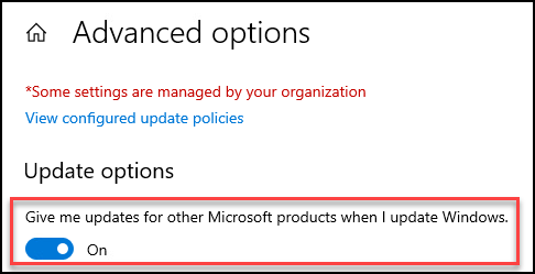 Machine generated alternative text: Advanced options  *Some settings are managed by your organization  View configured update policies  Update options  Give me updates for other Microsoft products when I update Windows.  on